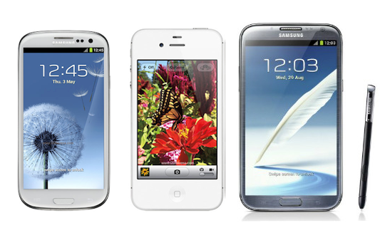 Samsung Galaxy S3 vs Samsung Note 2 vs iPhone 4S – Compare ...