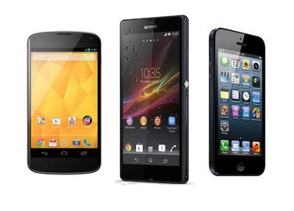 Google Nexus 4 vs Sony Xperia Z vs iPhone 5 - Compare Specs