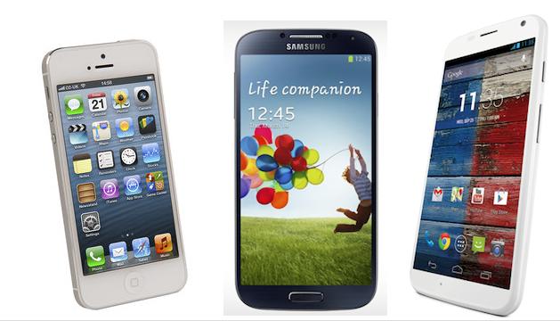 Moto X vs Apple iPhone 5 vs Samsung Galaxy S4 - Specs Compare
